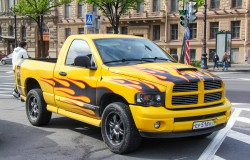 Saint Petersburg, Russia - May 25, 2013: Tuned pickup truck Dodge Ram in the city street. Stockfoto-ID: 303383653 Copyright: Artzzz